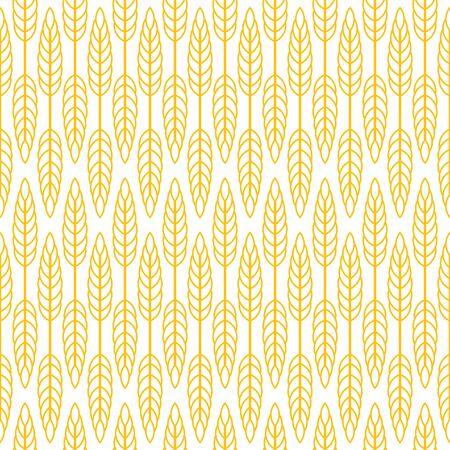 Wheat seamless pattern. Yellow print on white background