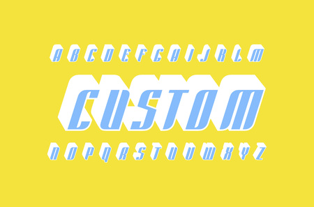 Decorative italic sans serif bulk font in racing style. Letters for icon and title design. Color print on yellow background