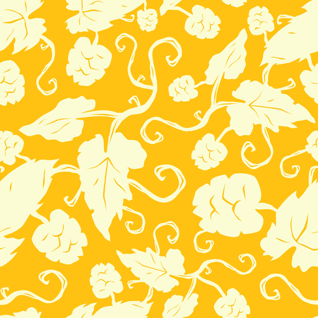 Seamless pattern with the image of hop plant. Illustration in hand drawn style. Light print on yellow background