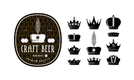 Set of crown icons for logo, label and emblem design. Craft beer label template Illustration
