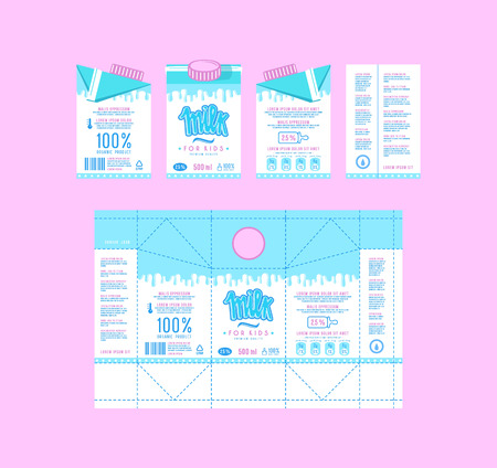 Stock vector design of boxes for milk. Unwrapped box with layout elements