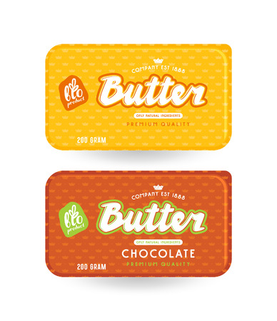 Stock vector packaging design for butter. Illustration with lettering and pattern