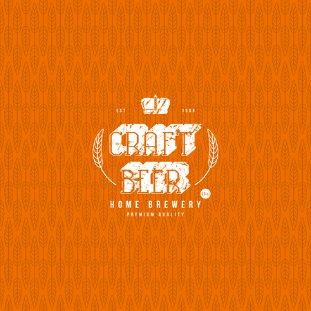 Wheat seamless pattern and craft beer label Illustration