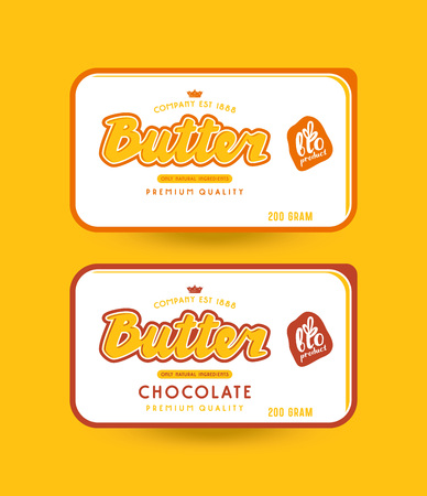 Stock vector packaging design for butter. Illustration with lettering. Vectores