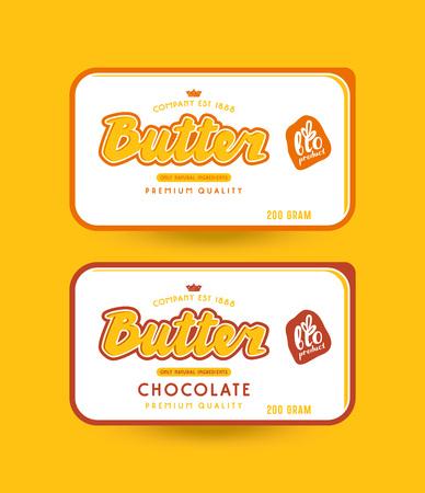 Stock vector packaging design for butter. Illustration with lettering. Stock Illustratie