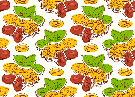 Seamless pattern with the image of a peanut. Illustration in the style of handmade graphics. Bright color print on white background. Illustration