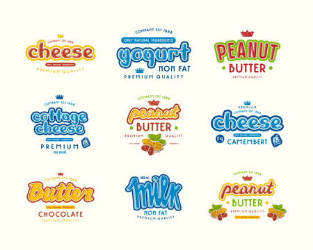 Set of typographic label for milk, yogurt, peanut butter and cheese. Graphic design with lettering. Color print on white background.