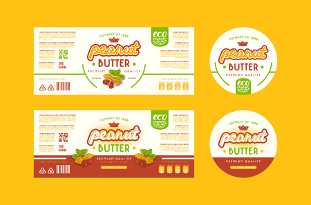 Set of templates label for peanut butter. Illustration with elements in handmade graphics. Stock Illustratie