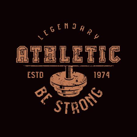Athletic club emblem. Graphic design for t-shirt. Brown print on black background. 일러스트