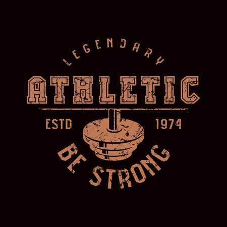 Athletic club emblem. Graphic design for t-shirt. Brown print on black background. Vectores