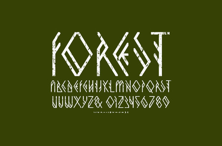 Decorative geometric sans serif font. Letters and numbers with rough texture for camping, nature, vegetarian logo design. White print on green background