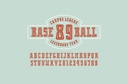 Decorative slab serif font with inner contour. Baseball emblem for t-shirt. Letters and numbers for logo and title design. Color print on blue background Stock Illustratie