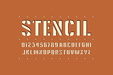 Decorative stencil-plate sans serif font. Bold face. Letters and numbers for logo and emblem design
