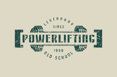 Emblem of the powerlifting club. Graphic design for t-shirt. Green print on gray background Illustration