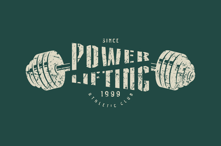 Emblem of the powerlifting club. Graphic design for t-shirt. Gray print on green background