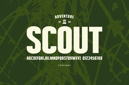 Original sans serif font. Bold face. Letters and numbers for logo and emblem design. White print on green texture background