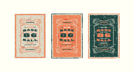 Set of baseball card design in vintage style. Player cards for pitcher, batter and catcher. Illustration with rough texture Illustration
