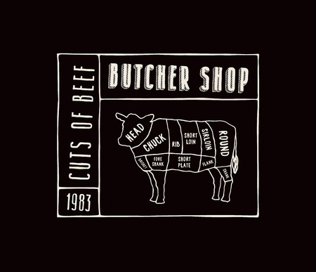 Stock vector beef cuts diagram in the style of handmade graphics. Label template for butcher shop. White print on black background