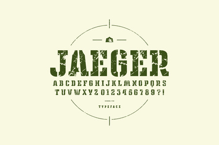 Original stencil-plate slab serif font. Bold face. Letters and numbers with rough texture for logo and emblem design. Green print on light background