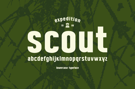 Original lowercase sans serif font. Bold face. Letters for logo and emblem design. White print on green texture background
