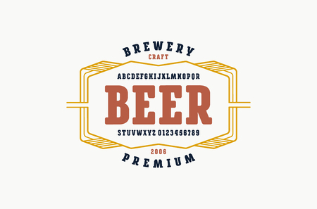Serif font with rounded corners. Label template for home brewery. Letters and numbers for logo and emblem design. Color print on white background Illustration