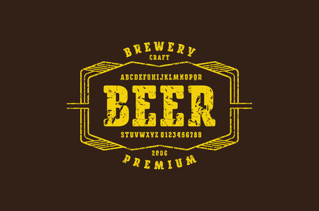 Serif font with rounded corners. Label template for home brewery. Letters and numbers with rough texture for logo and emblem design. Yellow print on brown background