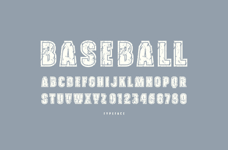 Decorative sans serif font with contour. Letters and numbers with rough texture for logo and t-shirt design. White print on gray background