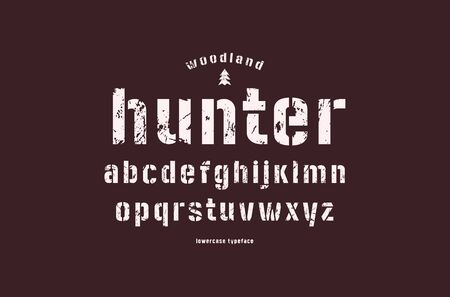 Original lowercase stencil-plate sans serif font. Bold face. Letters with rough texture for logo and emblem design. White print on dark background
