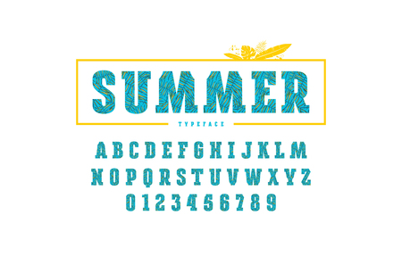 Decorative slab serif font with palm leaf pattern. Letters and numbers for summer headlines design. Color print on white background
