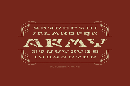 Geometric stencil-plate serif font in military style. Letters and numbers with rust texture for sci-fi, military, cosmic logo and title design. White print on color background Vettoriali