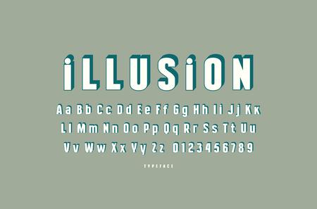 Decorative sans serif bulk font. Letters and numbers for logo and emblem design  イラスト・ベクター素材