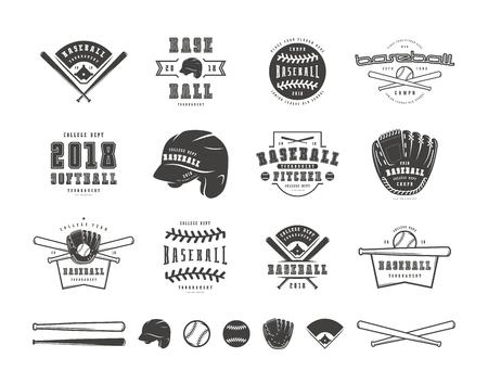 Emblems and badges set of baseball team. Graphic design for t-shirt. Black print on white background
