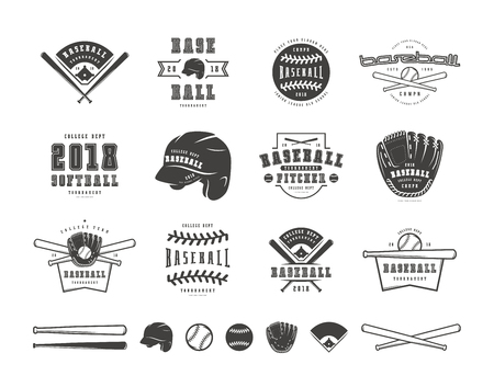 Emblems and badges set of baseball team. Graphic design for t-shirt. Black print on white background Imagens - 100593432