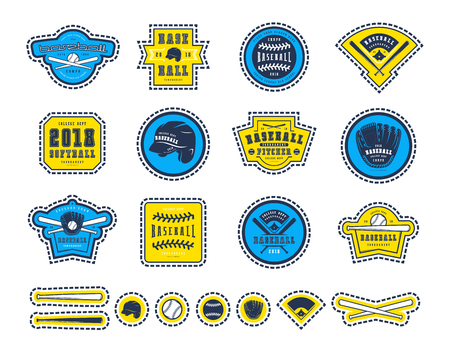 Emblems and badges set of baseball team. Graphic design for childish t-shirts, stickers and patches. Color print on white background Illustration