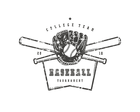 Emblem of baseball college team. Graphic design with rough texture for t-shirt. Black print on white background