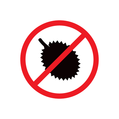 No durian sign. Color print on white background