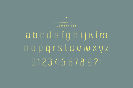 Stencil-plate sans serif font. Thin line face. Lowercase letters and numbers with rough texture for logo and emblem design. Yellow print on color background