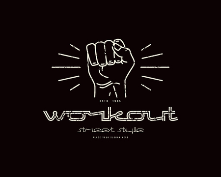Emblem of workout club with a image of a fist. Graphic design with rough texture for t-shirt. White print on black background