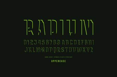 Decorative stencil-plate sans serif font. Letters and numbers for logo and title design. Green print on black background