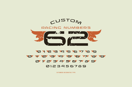 Set of initial extended numbers in racing style. Design with rough texture for logo, sticker and emblem