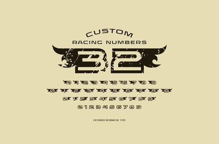 Set of initial hollow numbers in racing style. For logo, sticker and emblem design with rough texture