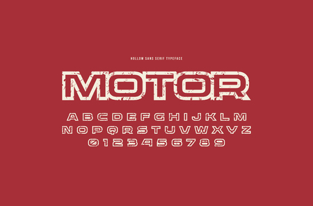 Hollow sans serif font in racing style. Letters and numbers with rough texture