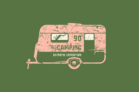 Emblem with rough texture for car camping. Graphic design for t-shirt. Color print on green background