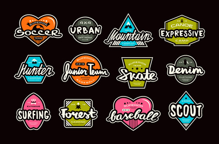 Set of bright stickers in sport style.