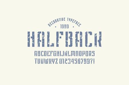 Stencil-plate narrow sans serif font in sport style. Illusztráció