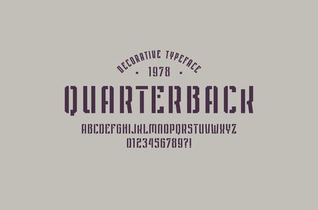 Stencil-plate narrow sans serif font in sport style.