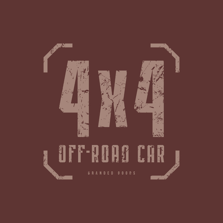 Off-road car emblem with rough texture for t-shirt. Gray print on brown background