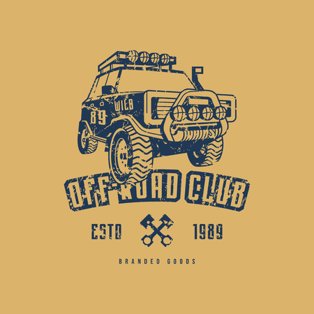Off-road club emblem with rough texture for t-shirt. Blue print on yellow background