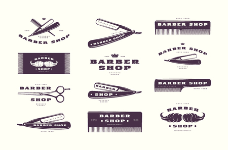 Set of vintage barber shop labels, emblems. Isolated on white background
