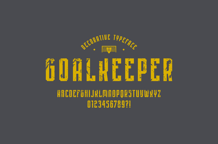 Decorative narrow sans serif font in sport style. Letters and numbers with rough texture for emblem design. Yellow print on gray background